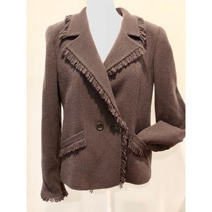 Armani Collezioni Brown Wool Fringe Jacket Blazer